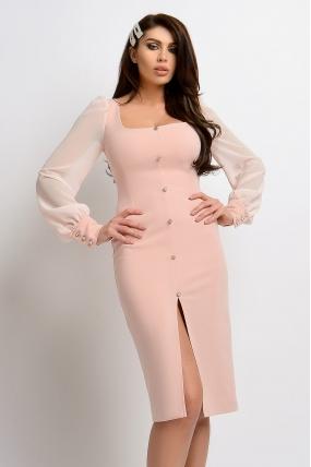 Rochie midi roz pal cambrata cu maneca lunga din voal Atmosphere