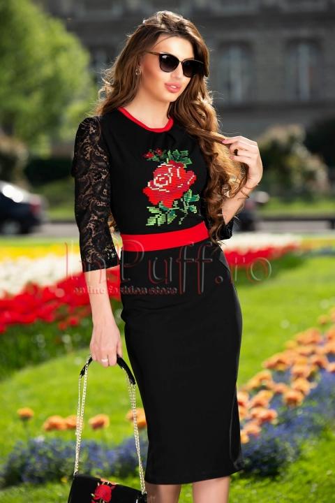 Rochie neagra midi cu maneca din dantela si broderie motive traditionale