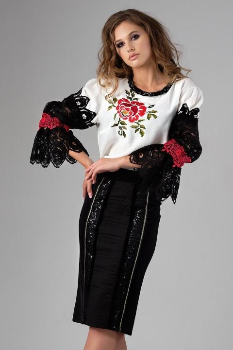 Bluza alba tip ie cu maneca brodata neagru cu rosu si motive traditionale