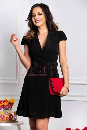 Rochie eleganta neagra din stofa plisata petrecuta