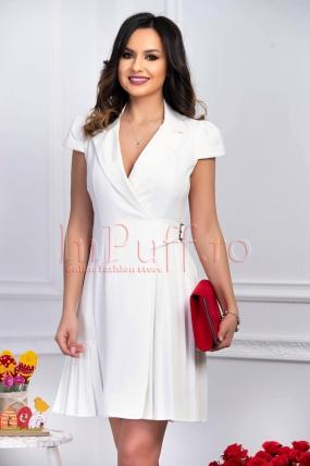 Rochie eleganta alba din stofa plisata petrecuta