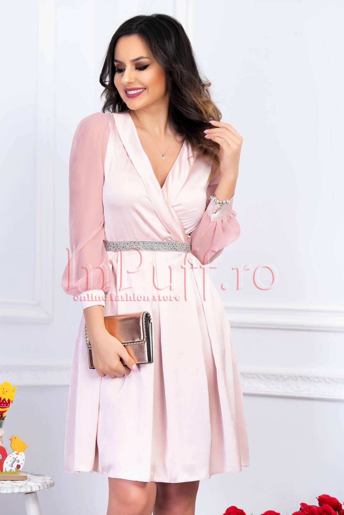 Rochie de seara roz pal plisata din satin cu maneca lunga din voal MBG-Collection