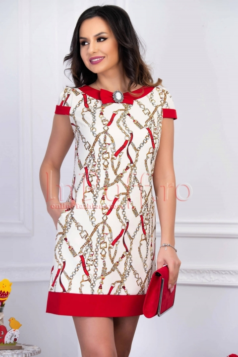 Rochie eleganta alba cu imprimeu multicolor si insertie rosie cu brosa nedetasabila