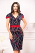 Rochie de zi bleumarin cambrata cu imprimeu multicolor si curea rosie in talie