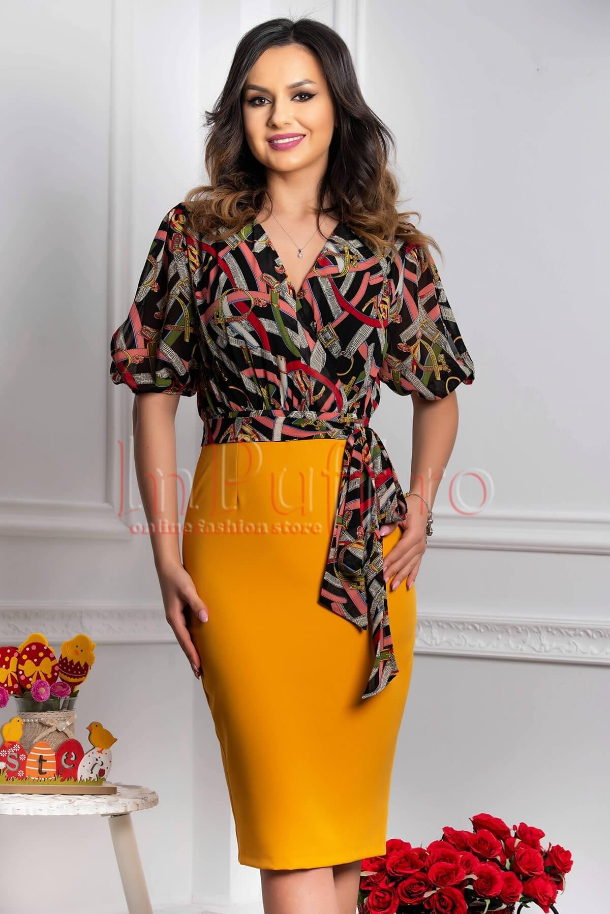 Rochie eleganta galben mustar si imprimeu multicolor cu maneca scurta