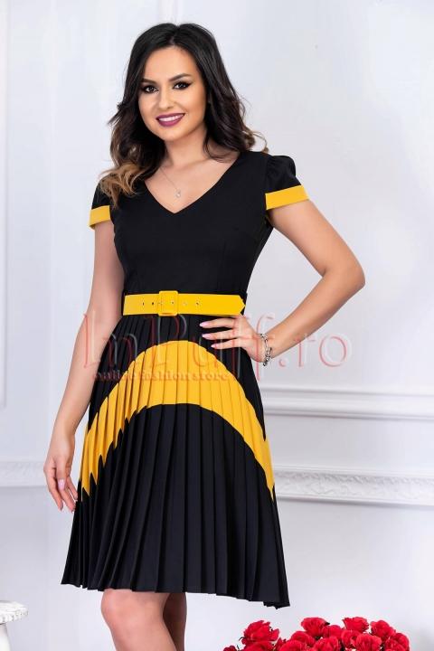 Rochie eleganta midi plisata neagra cu insertie galbena