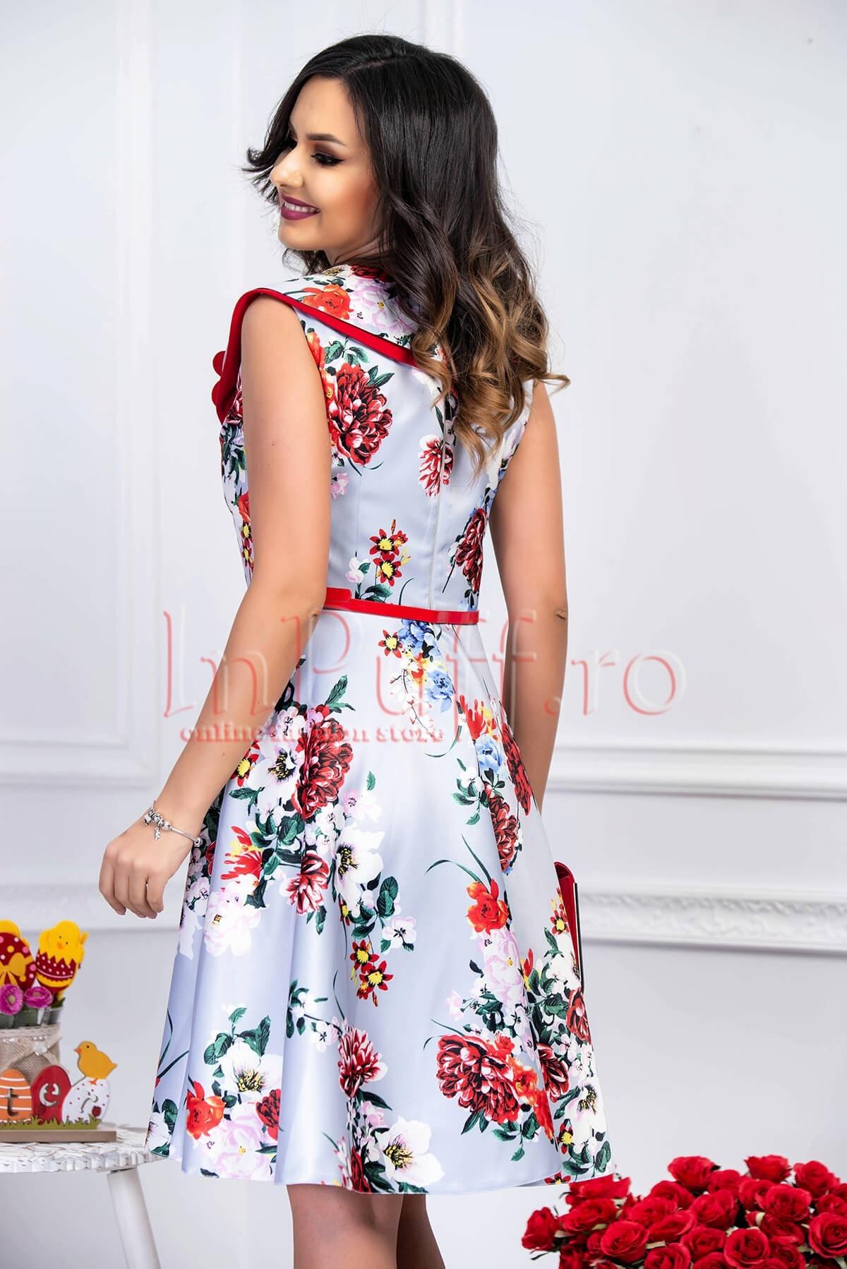 Rochie elganta de zi bleu clos cu imprimeu floral multicolor