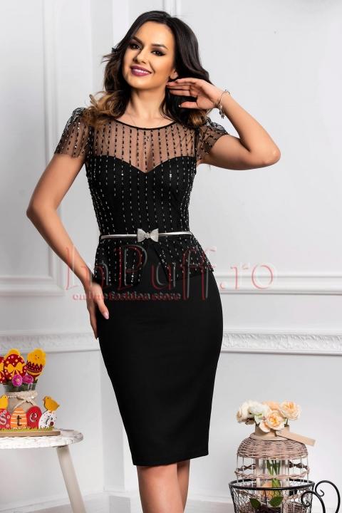 Rochie de ocazie neagra tip compleu cu paiete si curea din metal in talie