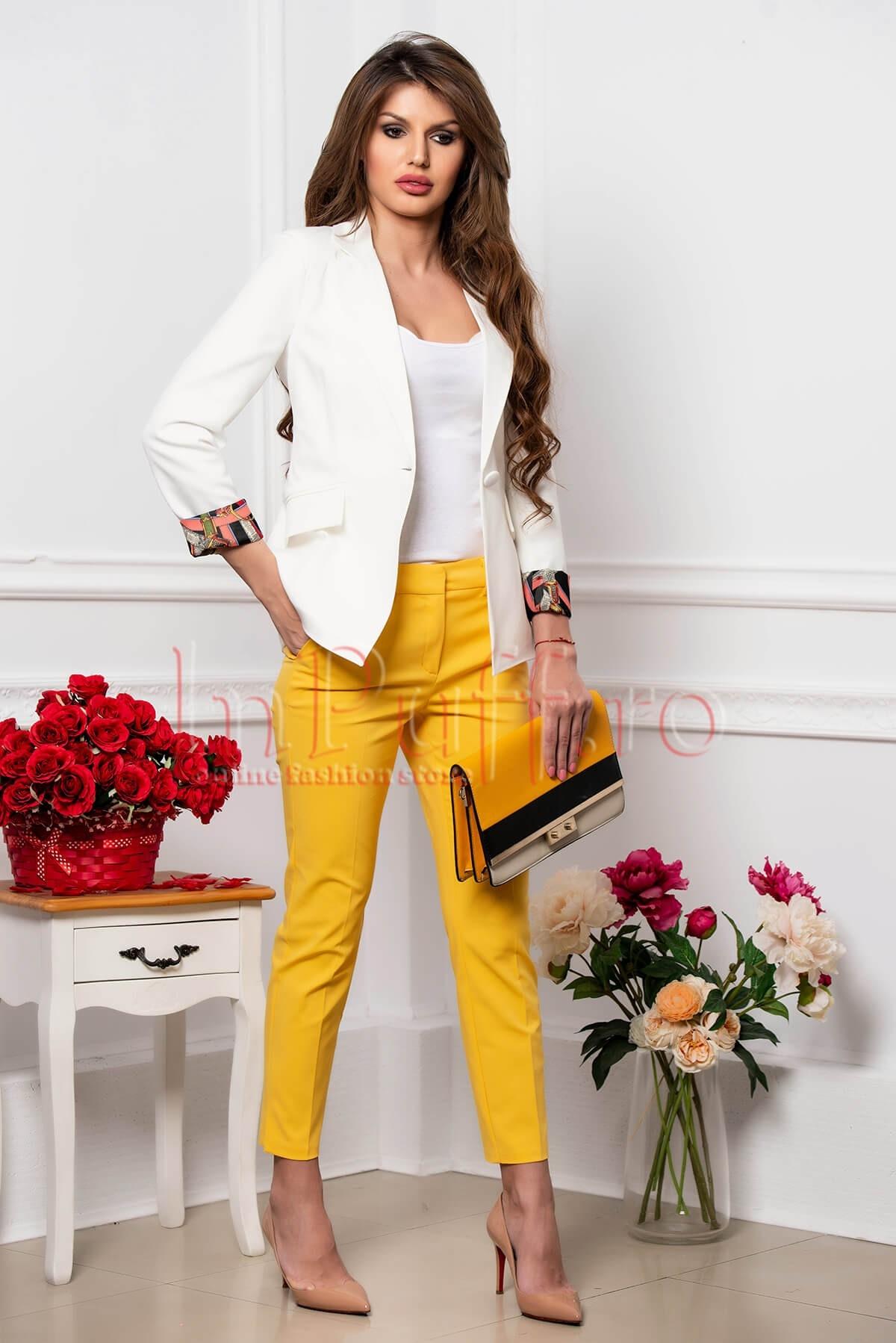 Pantalon elegant din tercot galben cu buzunare laterale functionaleantalon dama