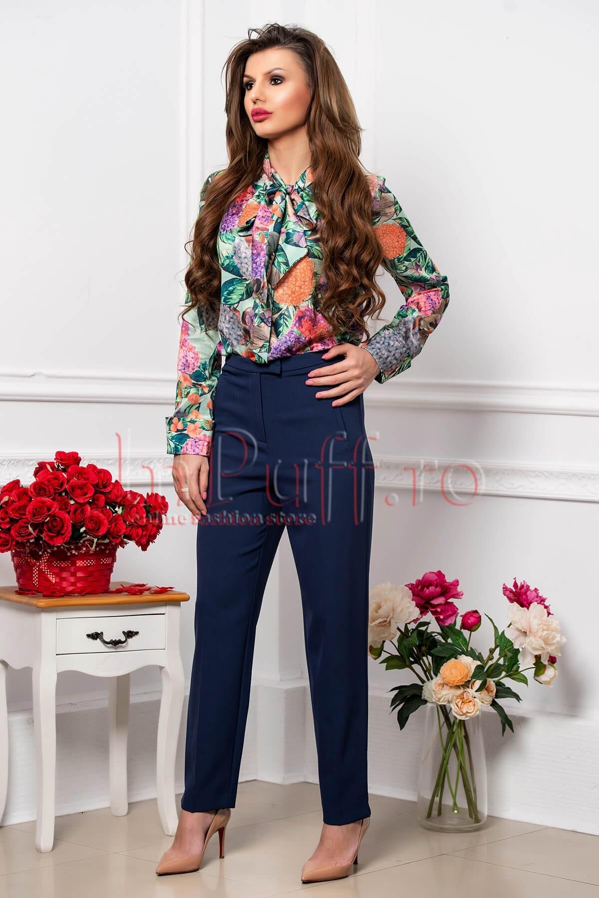 Pantalon dama elegant albastru conic cu buzunare laterale