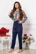 Pantalon dama elegant bleumarin conic cu buzunare laterale