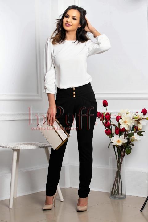 Pantalon dama elegant negru conic cu buzunare laterale functionale