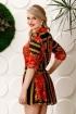 Rochie eleganta din voal lejera cu imprimeu multicolor si pliuri