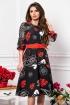 Rochie eleganta neagra clos cu imprimeu floral alb cu rosu si maneci din voal