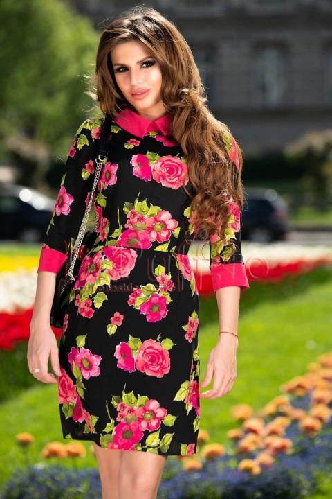 Rochie neagra midi din triplu voal cu imprimeu floral verde si fucsia