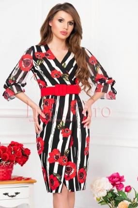 Rochie midi dungi alb negru cu imprimeu floral rosu