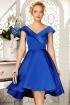Rochie de lux albastra din tafta satinata asimetrica cu decolteu petrecut  Fofy