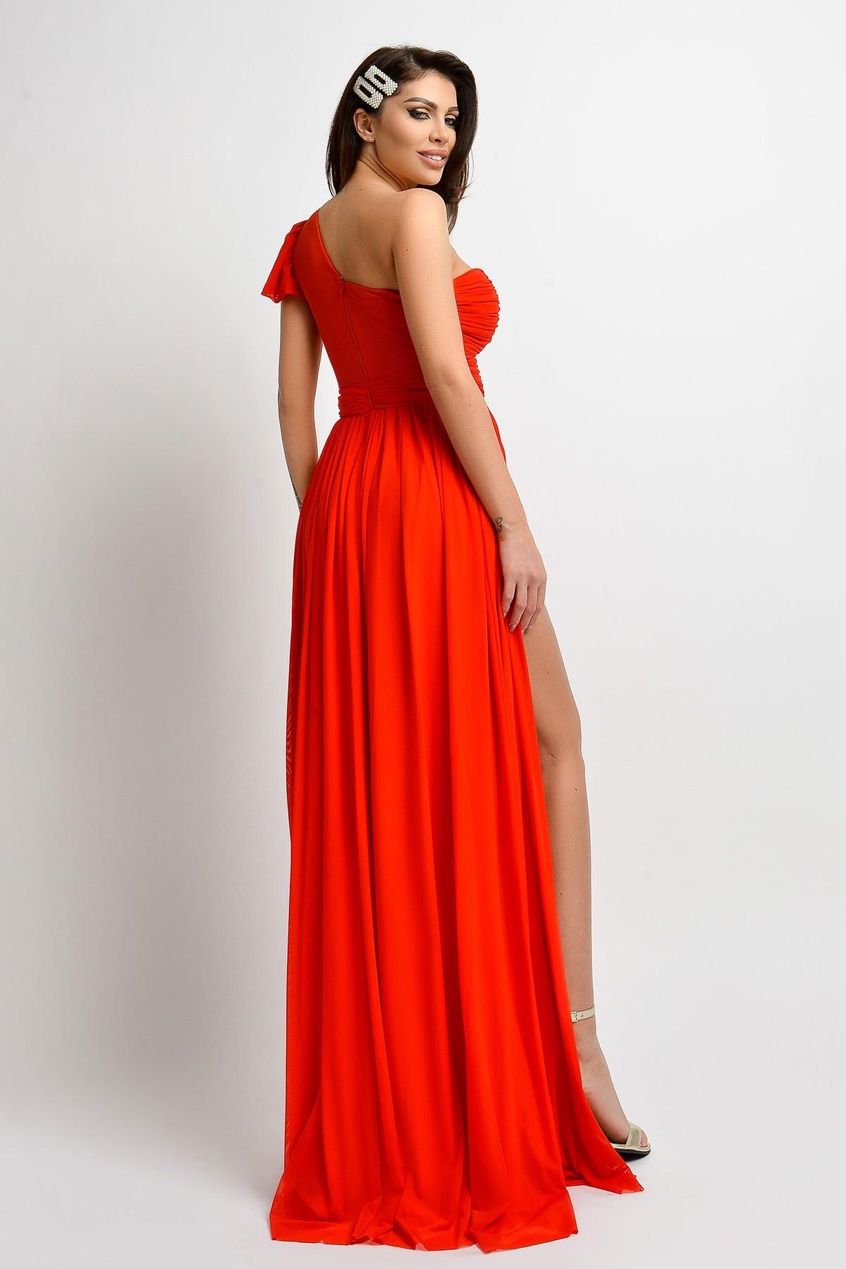 Rochie de ocazie rosie lunga din tul despicata in fata Atmosphere