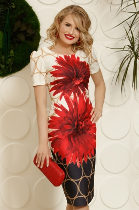 Rochie eleganta midi din stofa cu imprimeu floral deosebit