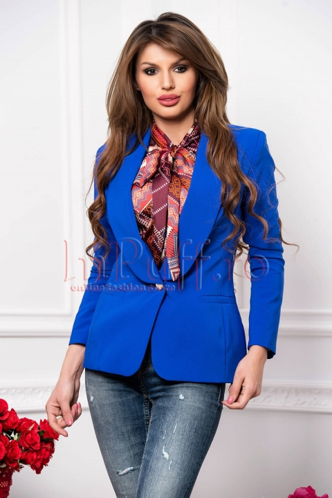 Sacou dama elegant din stofa albastru royal