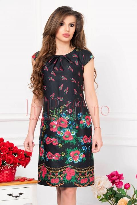 Rochie de zi neagra cu imprimeu floral