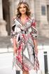 Rochie eleganta midi din satin cu imprimeu deosebit