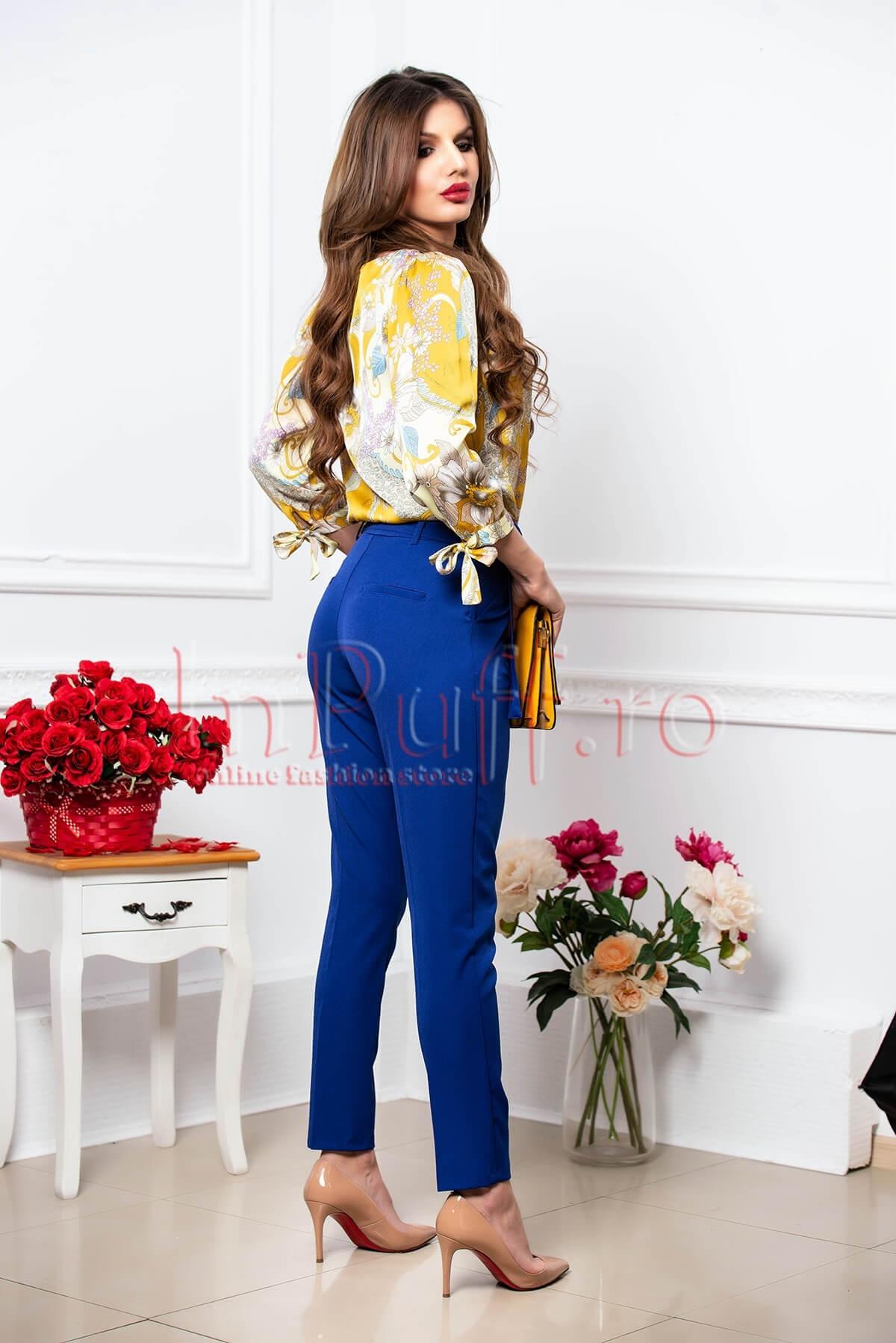 Pantaloni dama albastri cu talie inalta