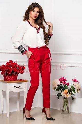 Pantaloni dama rosii cu talie inalta