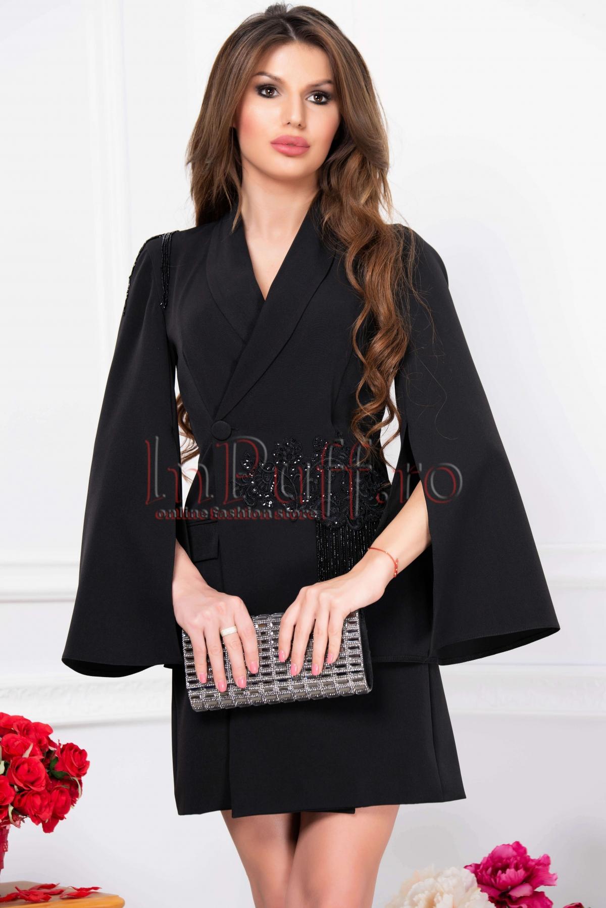 Rochie de seara neagra scurta tip sacou