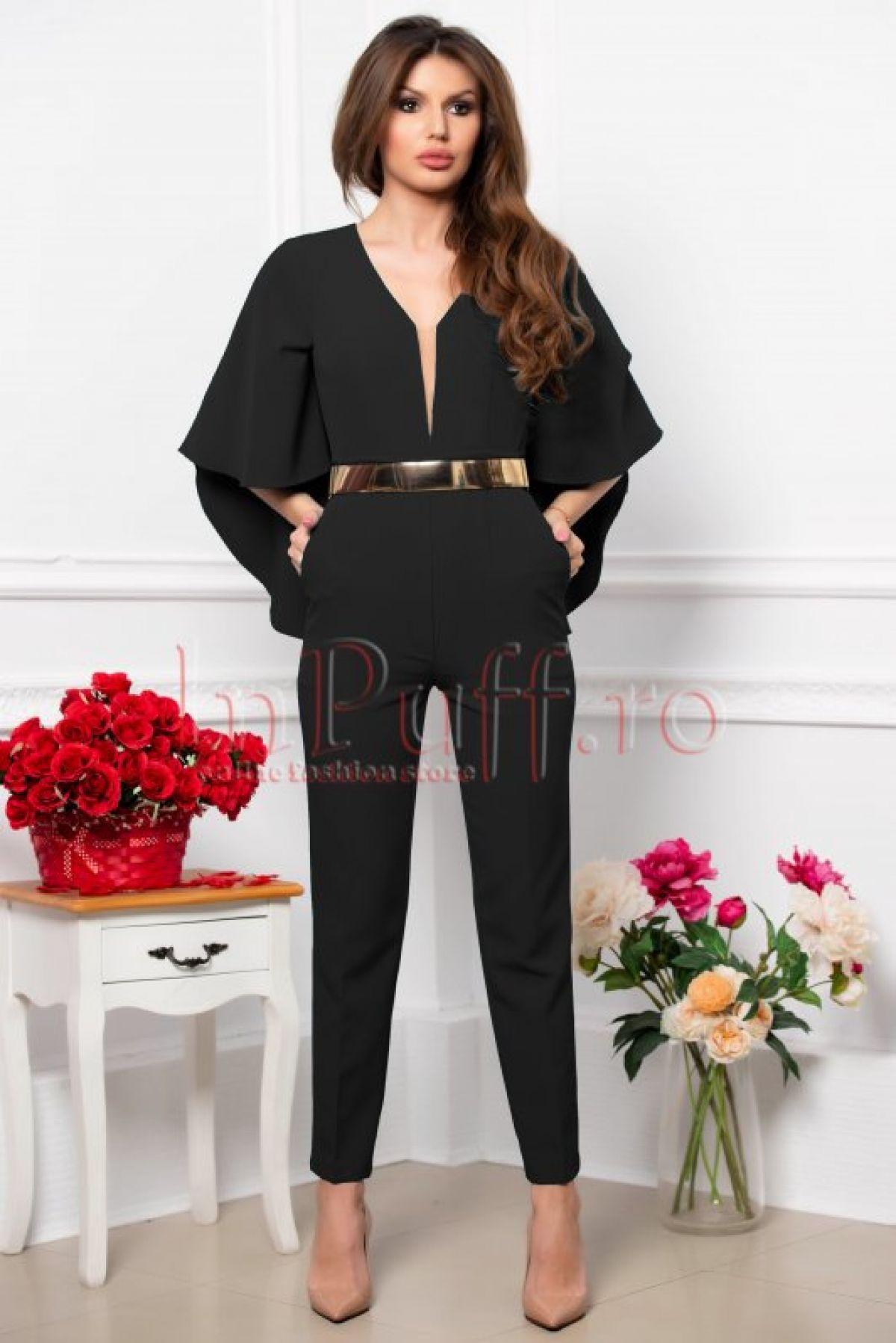 Salopeta dama eleganta neagra din stofa