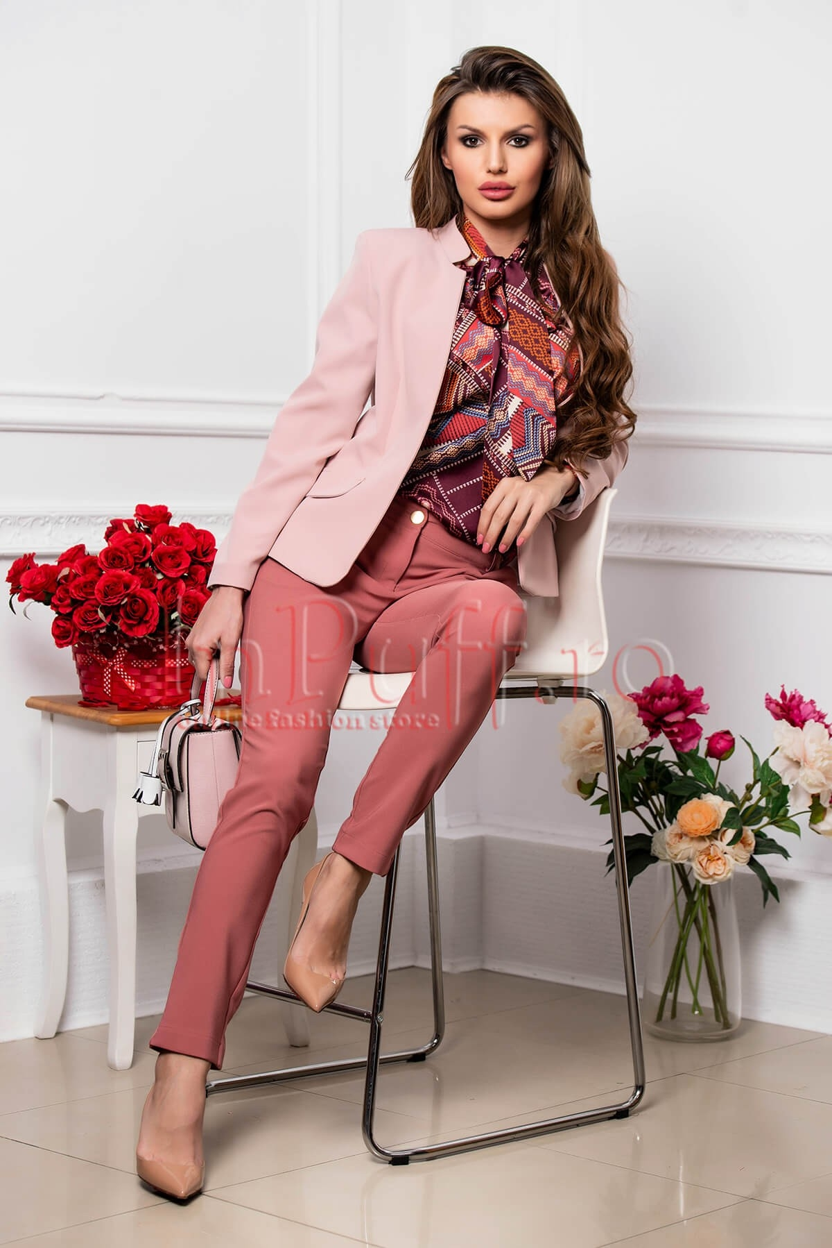 Sacou dama tip blazer roz fara inchidere