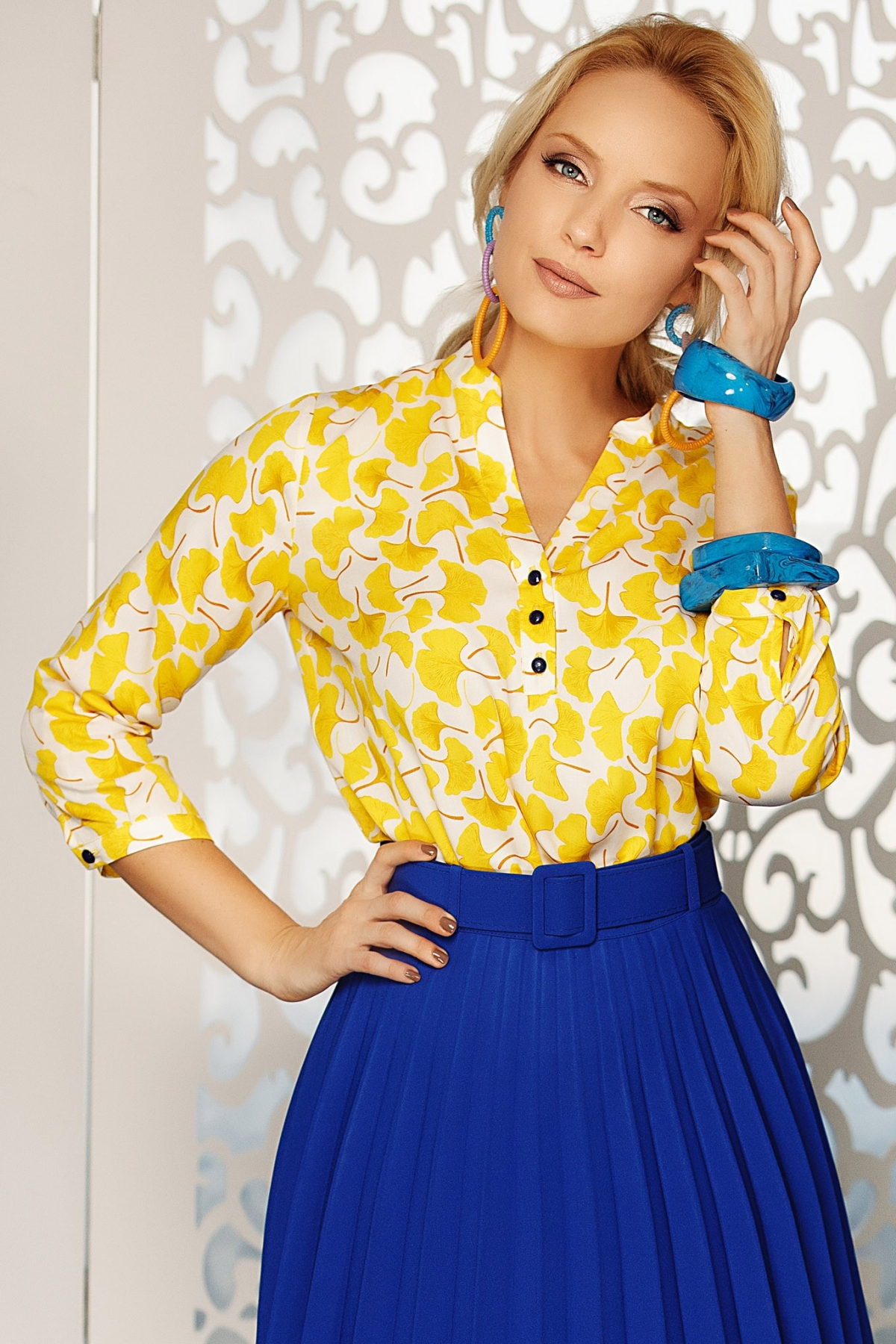 Bluza dama eleganta cu imprimeu galben
