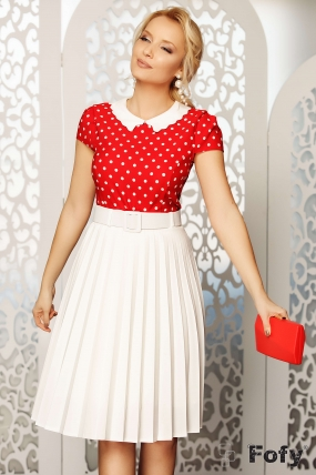 Bluza dama eleganta rosie cu buline albe