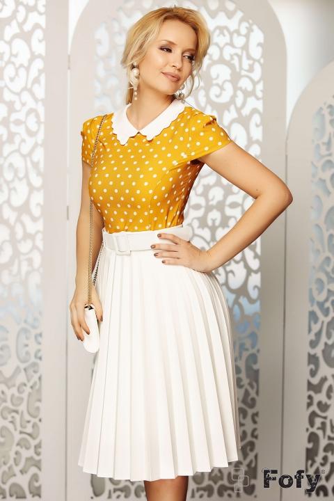 Bluza dama eleganta galbena cu buline albe
