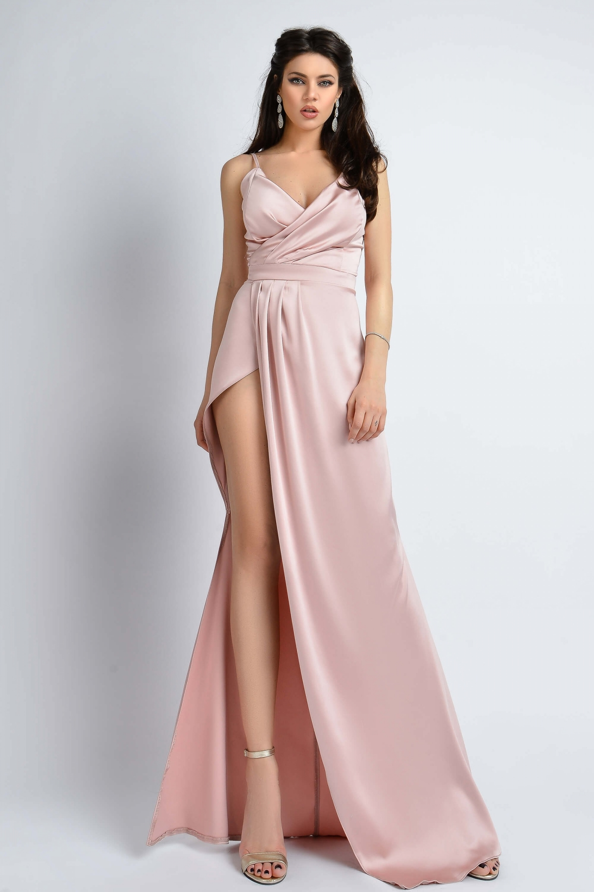 Rochie de lux din tafta satinata rose Atmosphere