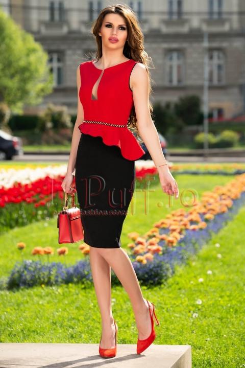 Rochie midi eleganta asimetrica rosu cu negu