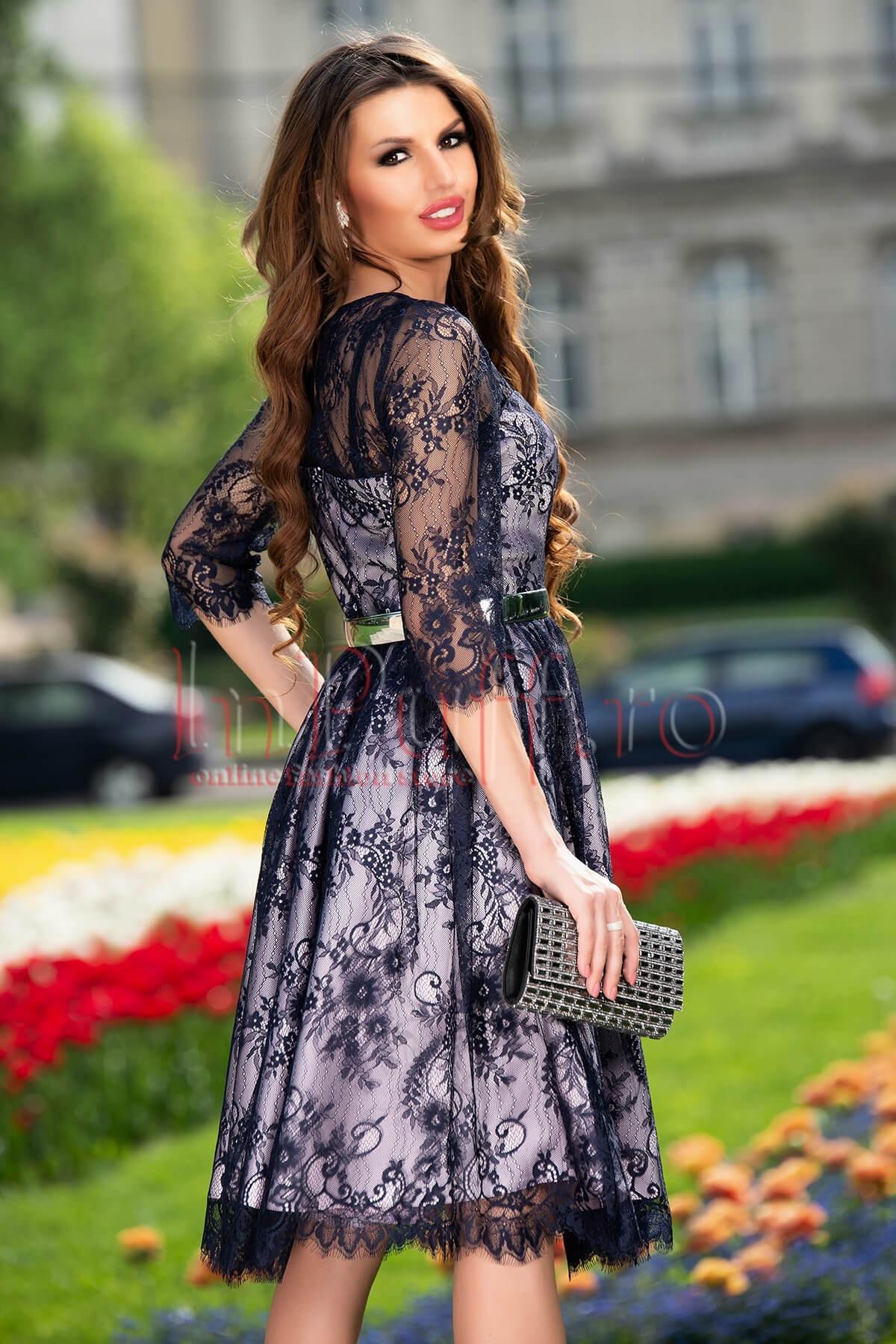 Rochie de ocazie bleumarin din dantela