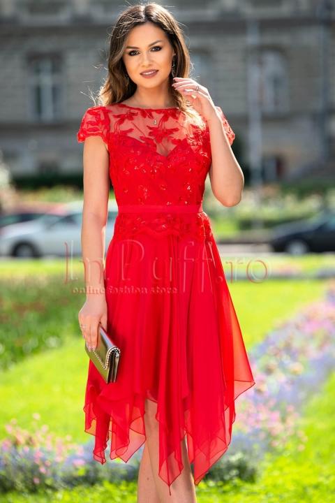 Rochie de seara rosie din voal cu broderie si paiete