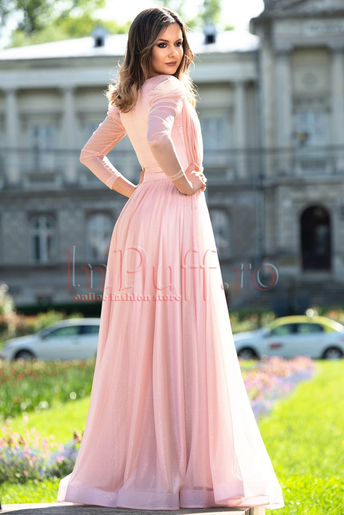 Rochie de seara lunga stralucitoare roz prafuit