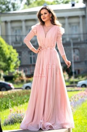 Rochie de seara lunga stralucitoare roz