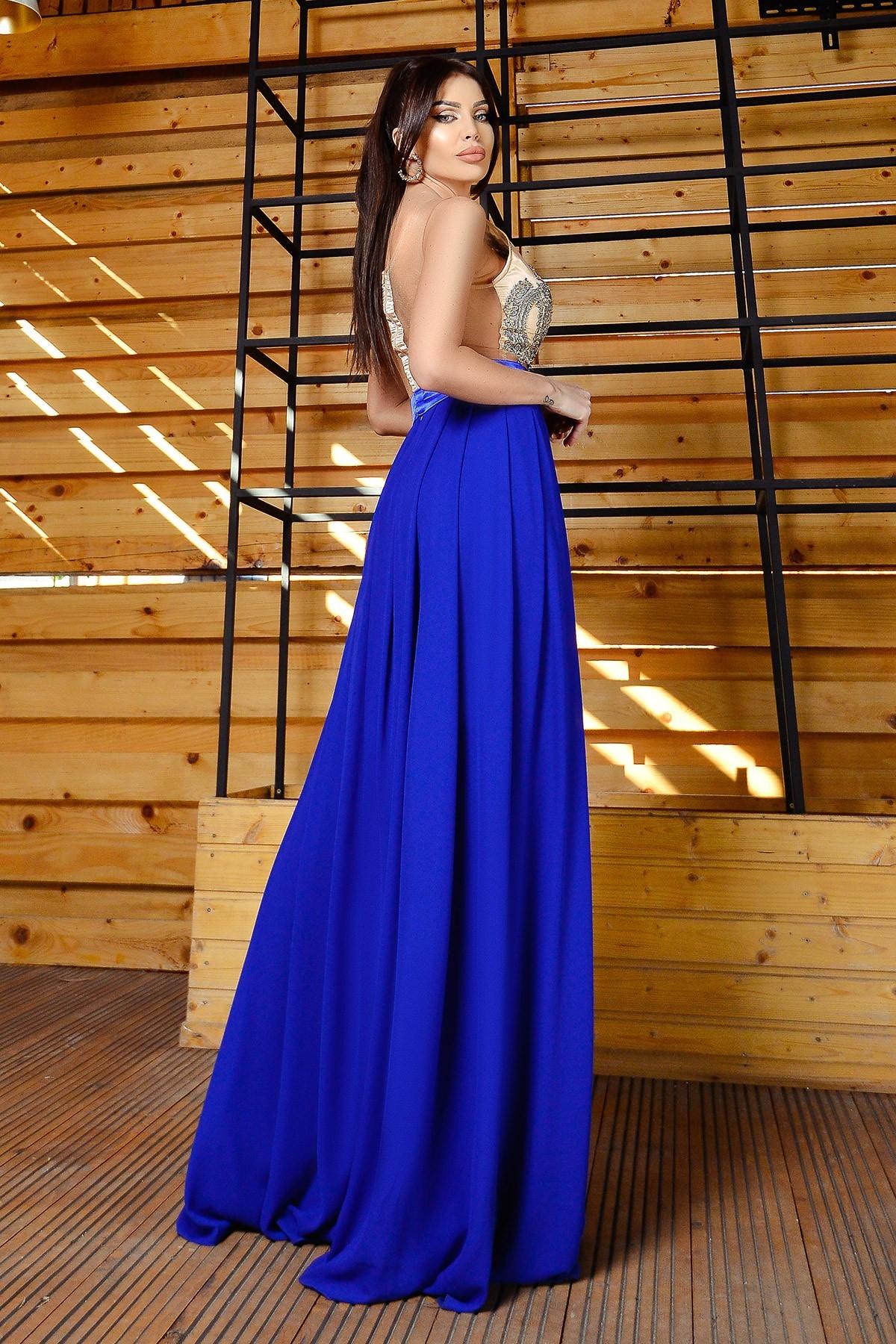 Rochie de seara lunga albastra Atmosphere