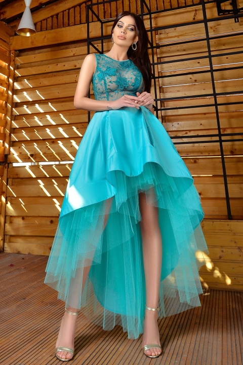 Rochie de seara turquoise Atmosphere asimetrica