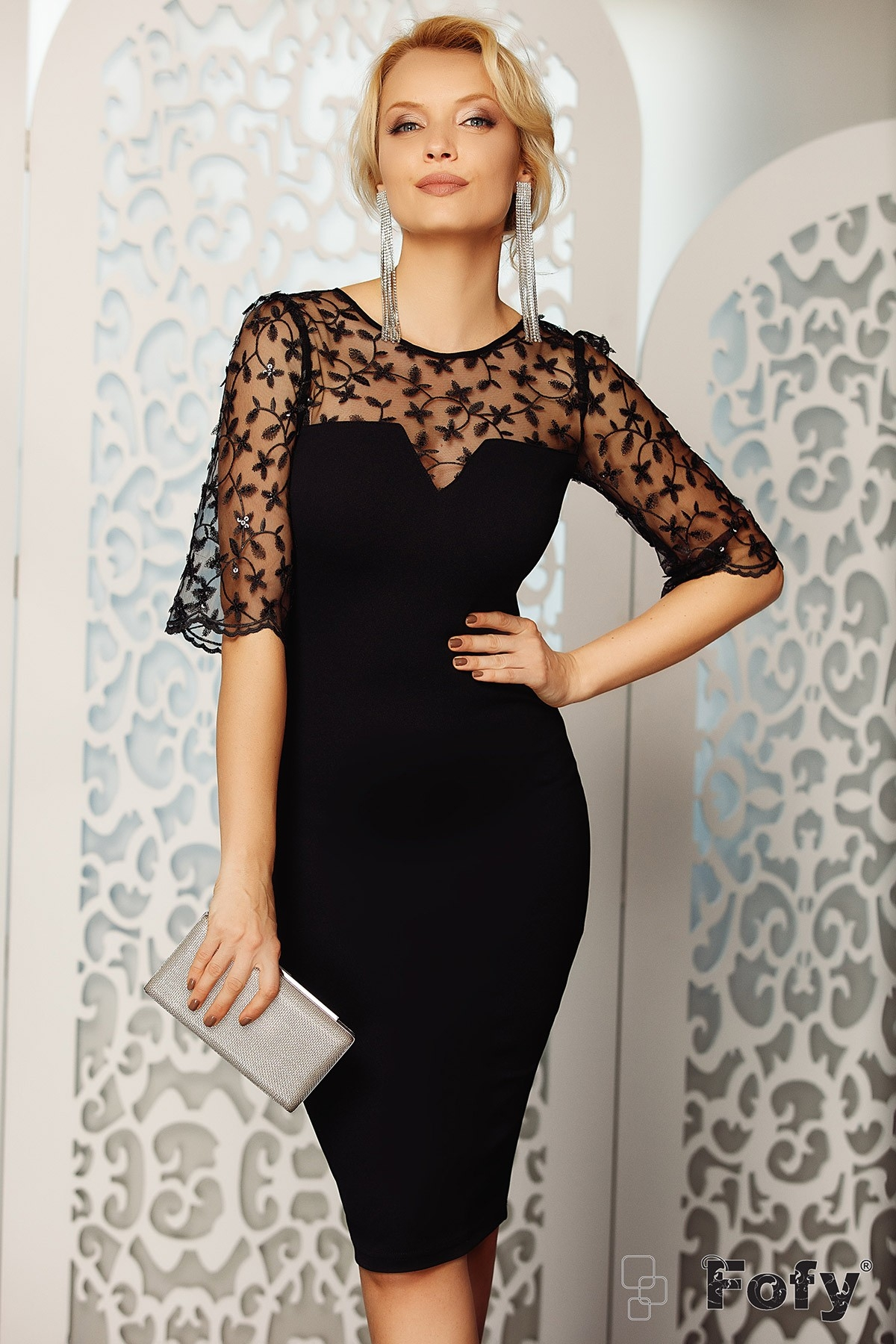 Rochie de ocazie neagra Fofy conica