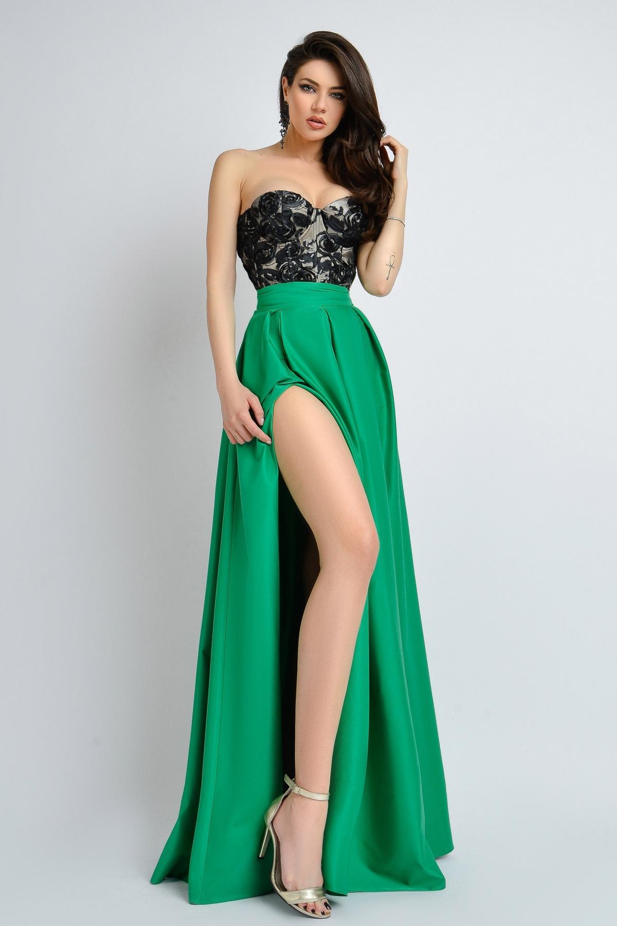 Rochie de seara verde Atmosphere cu corset negru paietat Atmosphere