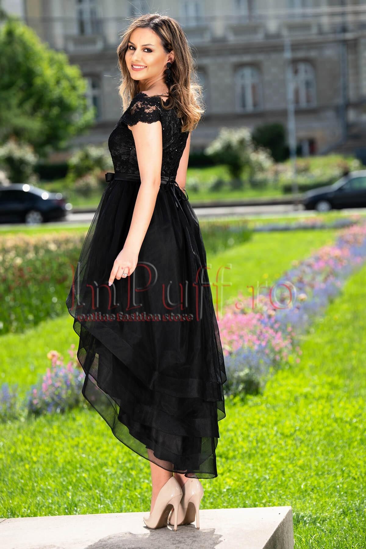 Rochie de seara neagra asimetrica din tull cu broderie si paiete