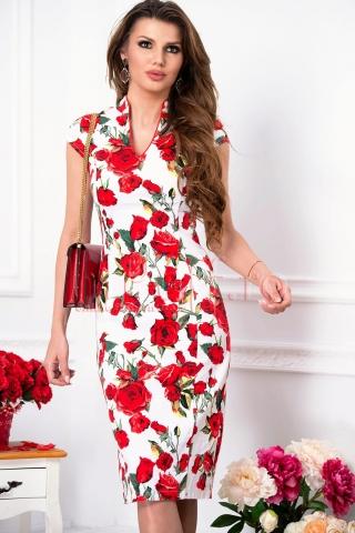 Rochie de zi eleganta din bistrech cu imprimeu floral