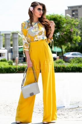 Pantalon dama elegant galben mustar din vascoza