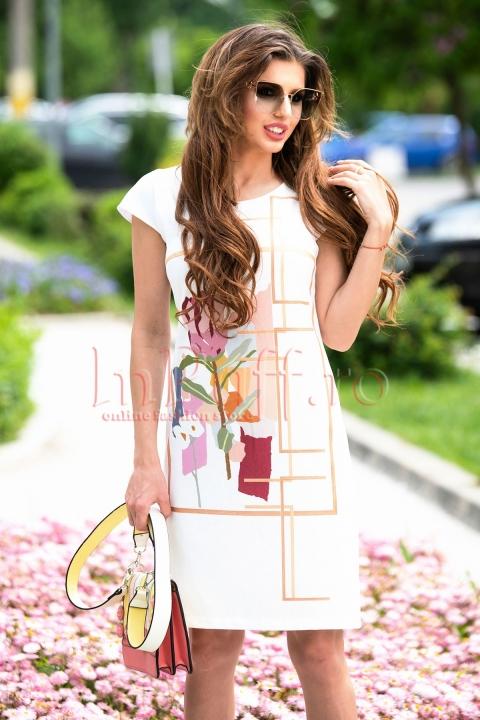 Rochie de zi alba cu imprimeu floral