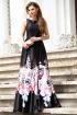 Rochie de ocazie lunga neagra din tafta cu imprimeu floral