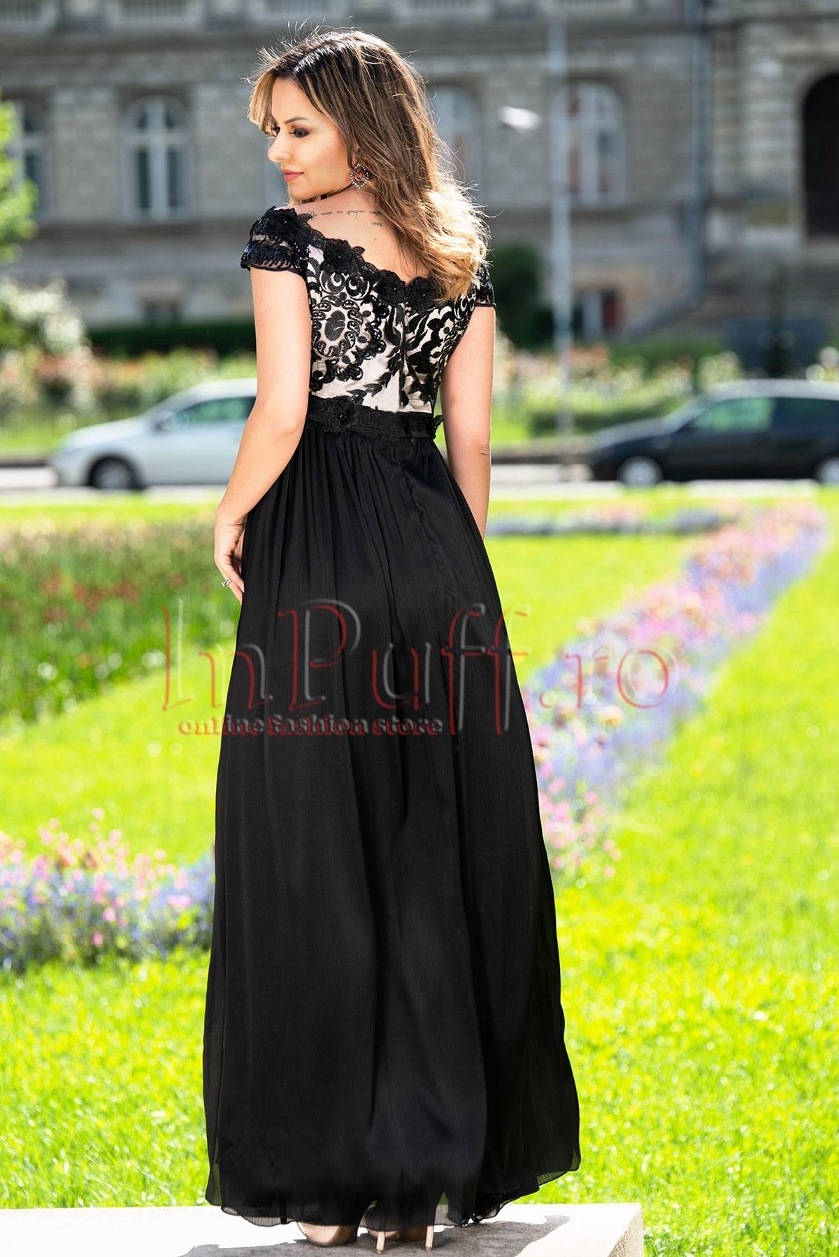 Rochie de seara neagra din dantela si triplu voal creponat sidefat